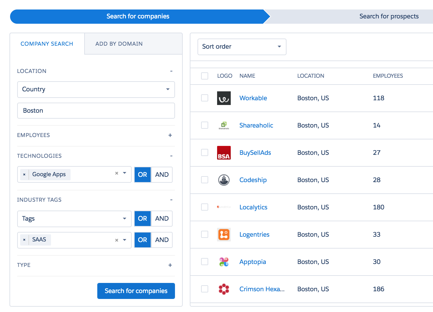 advanced company list building in Salesforce